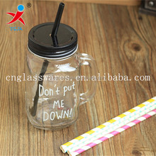 custom clear glass mason jar with handle with lid and straws