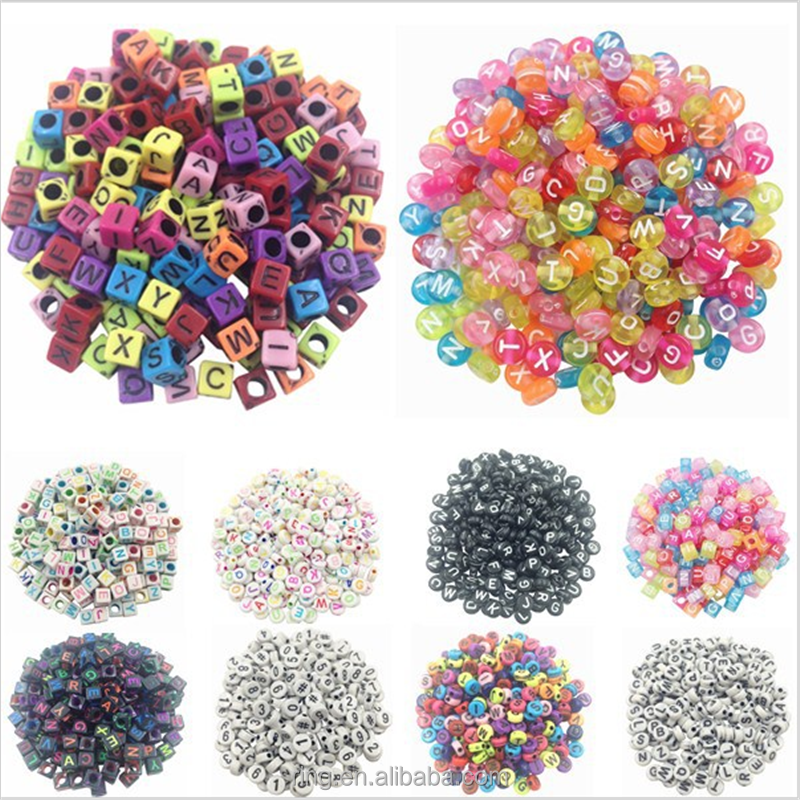 Hot Handmade DIY Square/Round Alphabet Digital/Letter Charm Beads Acrylic Cube for Jewelry Making Loom Band Bracelets Wholesale