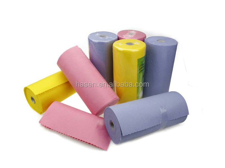 OEM manufacture , 13 years factory , produce and wholesale needle punch nonwoven clean cloth in perforated roll
