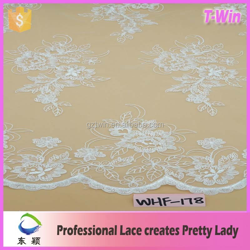 2016 latest design Customized Embroidery lace with bead for Nigeria dress