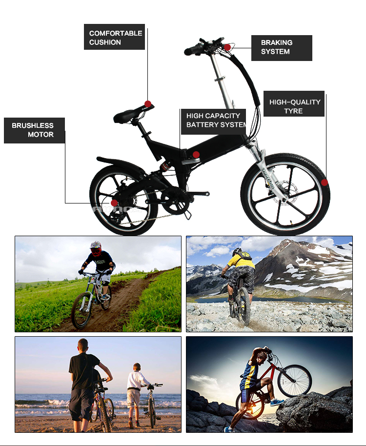 "20"" hidden battery folding electric mountain bicycle"