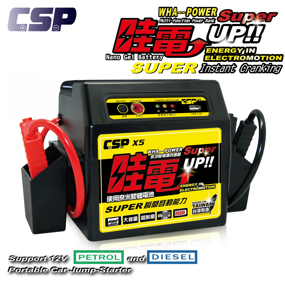 roadside assistance car jump starter with USB for cell phone of jump starter
