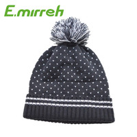 100% acrylic Children winter Jacquard velvet knitted pom pom beanie hats