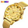 Paypal alloy western wrist watches unbranded skmei 9166 horloge watch men gold luxury