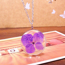 Unisex Real Dried Purple Flowers Floating Locket Necklace Round Glass Cabochon Living Pendant Glass Terrarium Accessories