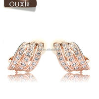OUXI 2016 new model top quality AAA zircon fashion 18k gold plated earrings 20069
