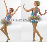 MB2082 Rainbow sequin tiered petal children girls costume skirt tutu dress costume
