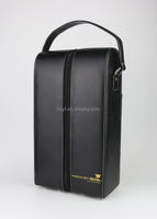 manufacture high quality black 2 packed leather wine carrier