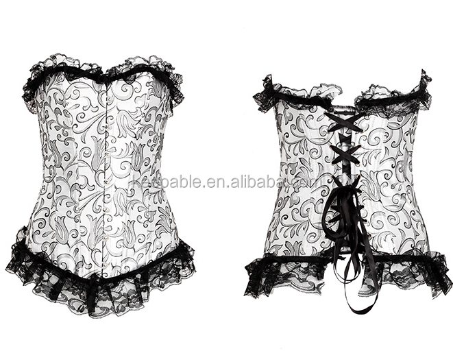 Fashion Womens Sexy Lace Brocade Shapewear Medical Slimming Waist Corset Bustier