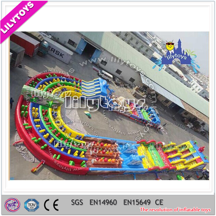 Huge park adult inflatable obstacle course, commercial best amusing sport game, car type inflatable tunnel