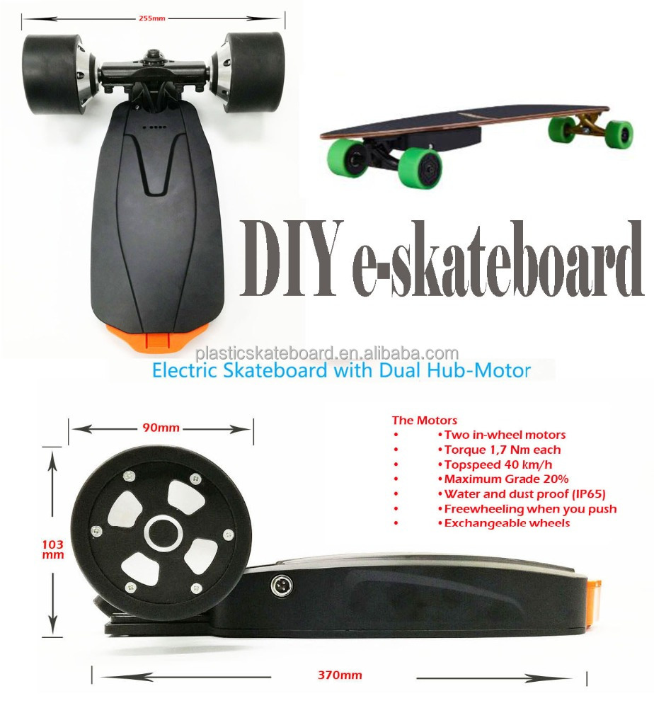 Newest motorized <strong>electric</strong> skateboard kit drive system with dual hub motors