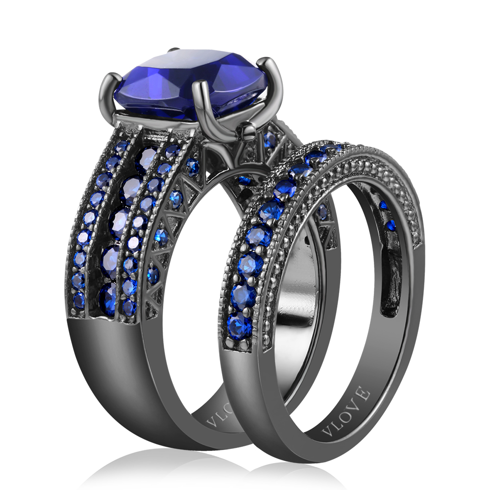 VLOVE Lady Luxurious 925 Silver Synthetic Sapphire Black Ring Large Size Jewelry Wholesale Hot Model
