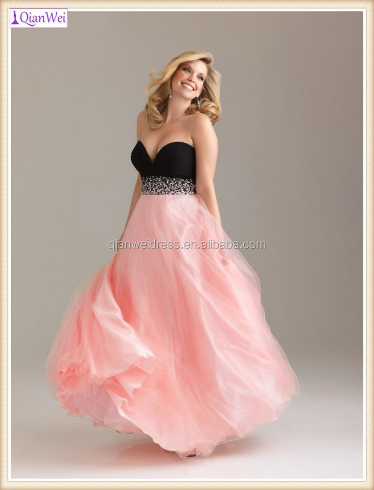 2015 new style long two colors black and pink beaded V neck tulle super plus size bridesmaid dresses