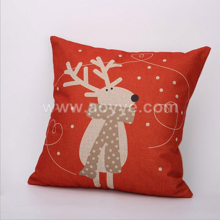 Fashion style red scarf linen imitation cushion Vintage Deer Retro christmas decorative digital printed pillow covers