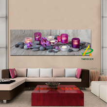 Digital printed stones flowers candles canvas picture still life painting canvas prints print oil painting for Home Decor