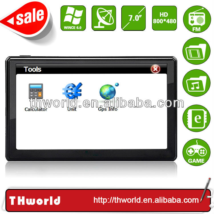 2014 new sale big screen 7 inch coach gps system with big memory latest lorry truck map