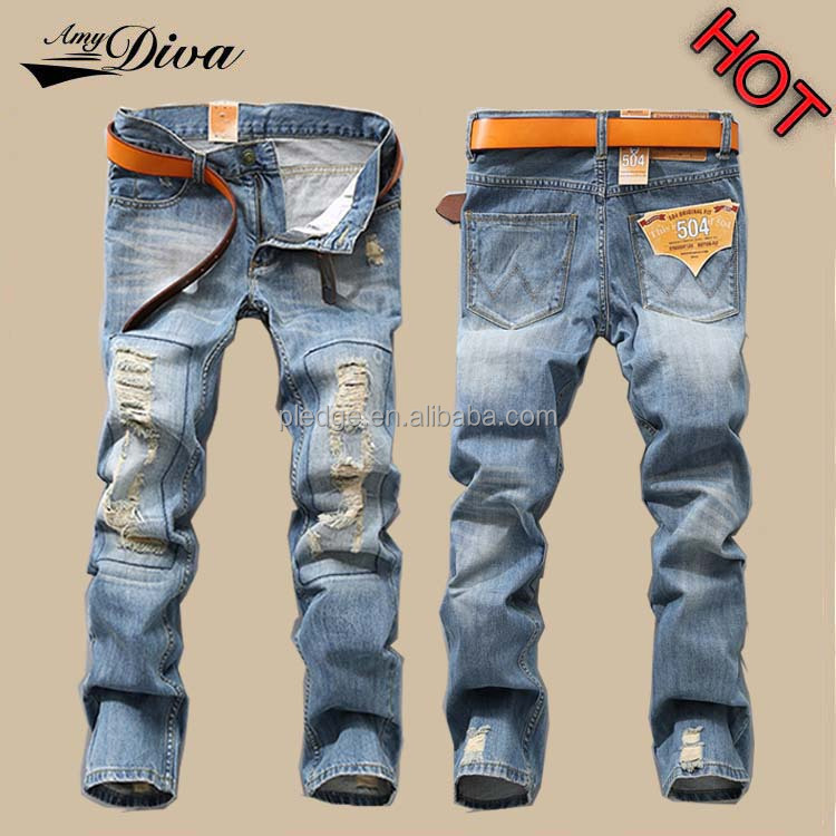 Fashion european style high quality ripped jeans wholesale china denim biker jeans trousers new model jeans pants for men