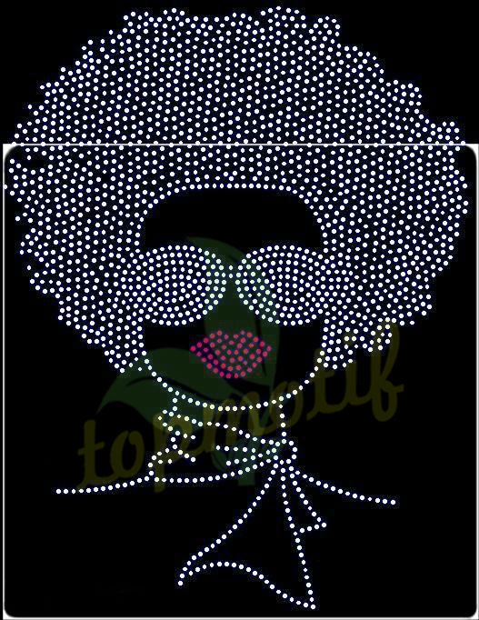 Hot Sale Bling Iron On Afro Girl Rhinestone Transfer, Custom Transfers Car Motifs