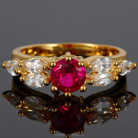 2015 Wholesale Jewelry Round Cut Red Ruby Topaz White Gold GP Lady Ring