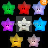 Top Quality Pretty Shine Star 7-Color Changing LED Lamp Home Room Decor Night Light Party Kids Gift Present Free Shipping