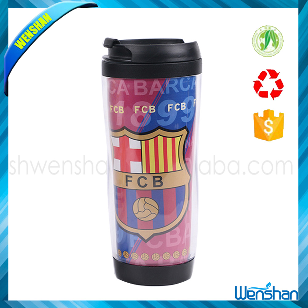 2015 New large double wall plastic insulated coffee mug with paper insert