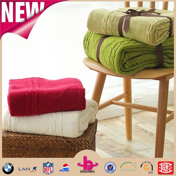 Blanket Factory China! home textile plain dyed organic cotton fabric, new design cable knit blanket baby.