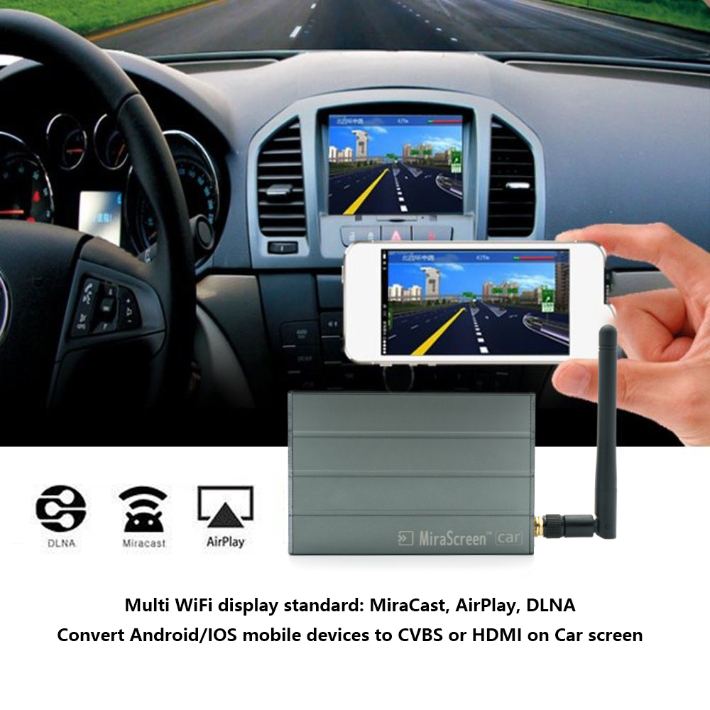 MiraScreen C1 Car Wifi Display Dongle, WiFi Mirror Box for iOS Android Airplay Miracast DLNA GPS Navigation