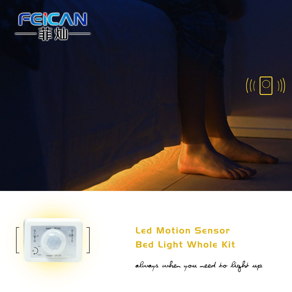 Motion Activated under bed night light 30leds per meter led motion sensor strip light