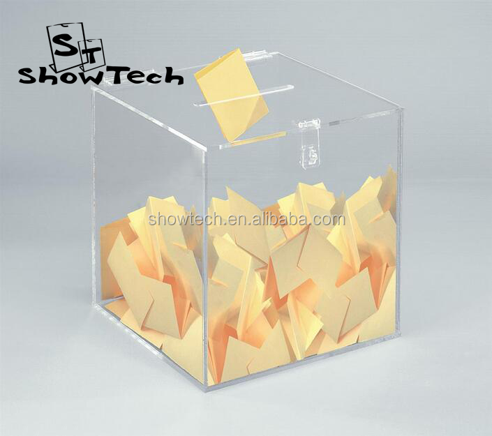 Top sale good quality acrylic raffle Charity Ballot Donation Money Box with lock ST-SEB E03