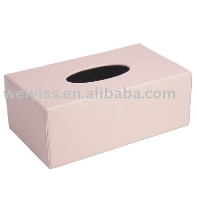 Wholesale price leather napkin box , faux leather tissue box holder