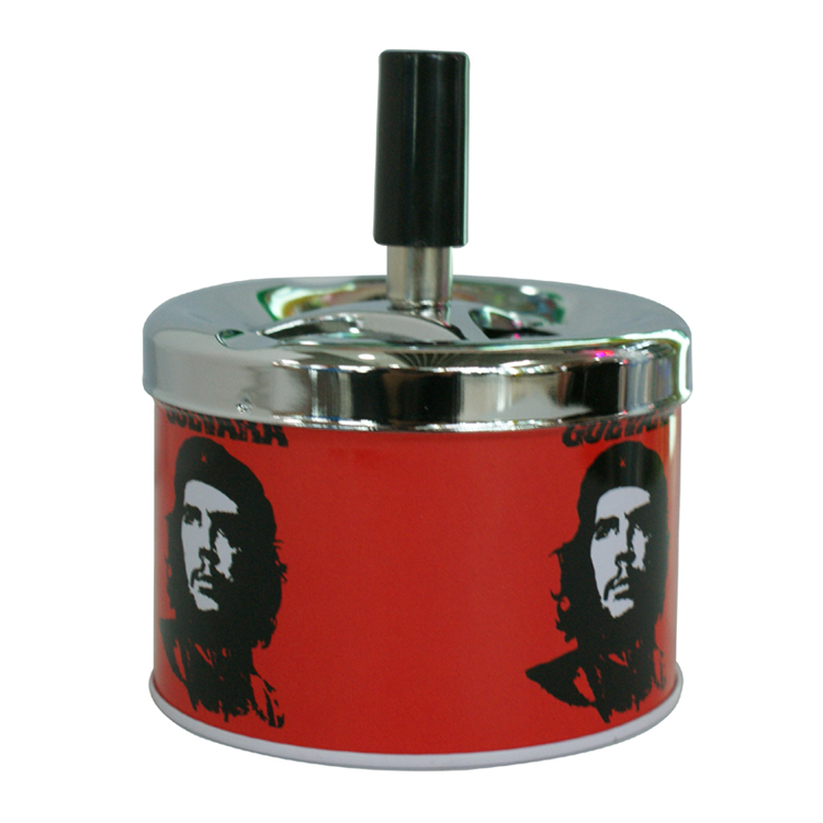 Gunter manufacture Fingers Press The Rotating Cover Ashtray tin round ashtray with Grava person pattern