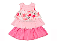 2016 latest dress designs 100% cotton girl flower dress for baby girls clothes 80087