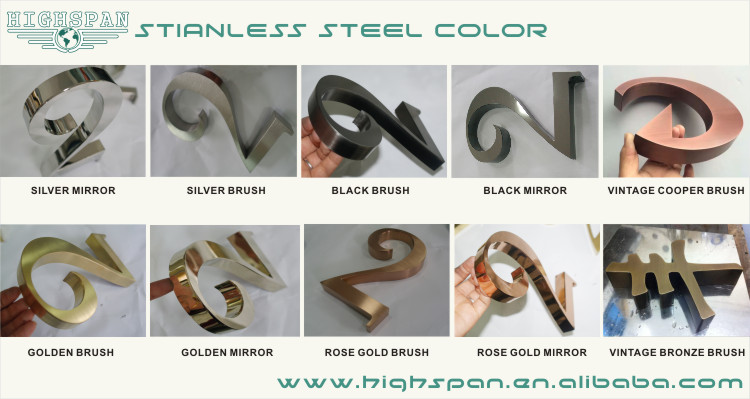 Custom metal plate logo sign 3d stainless steel letters