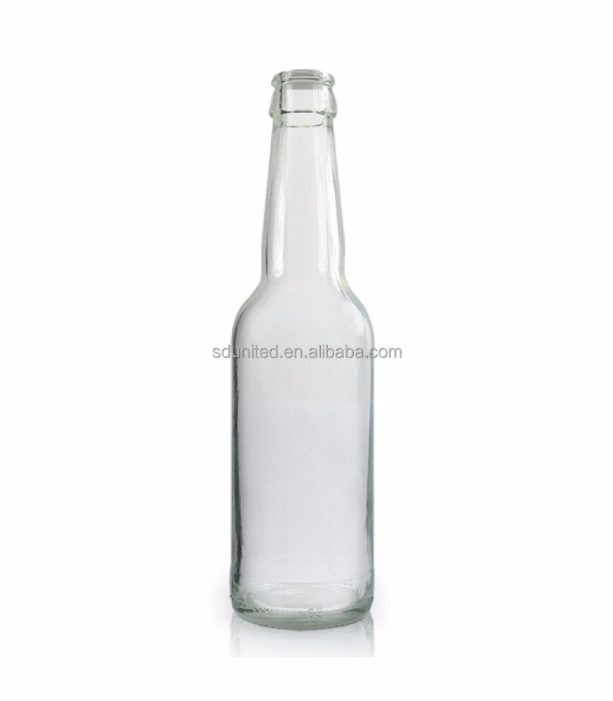 Wholesale 330ml clear glass beer bottle with crown cap