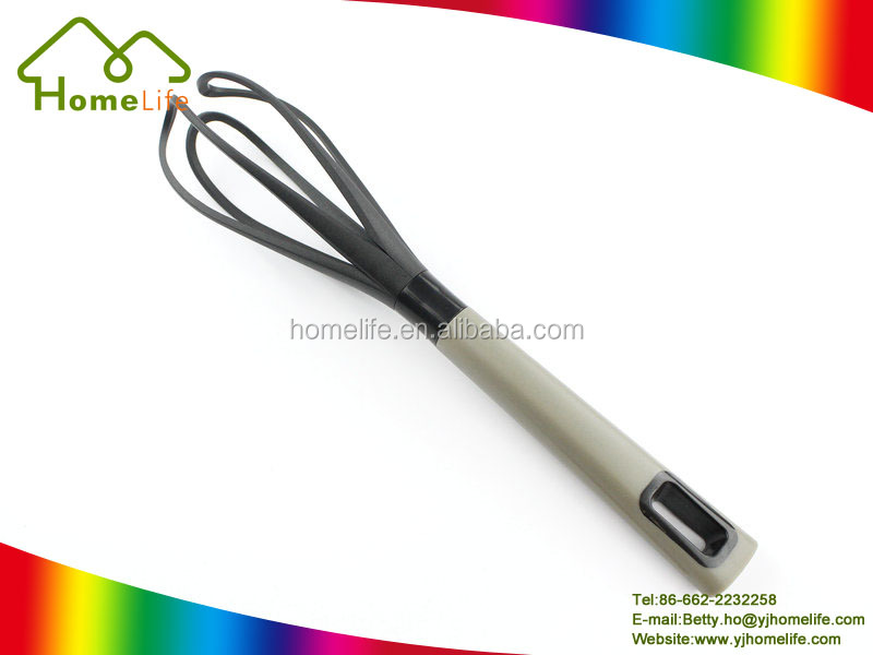 Kitchen tools hand held plastic handle beater nylon egg whisk