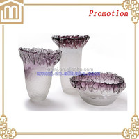Unique design Set purple large chinese flower deco crystal vases murano