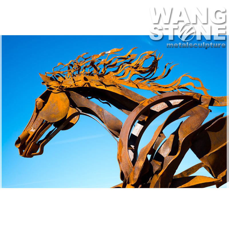 Large Corten Steel Outdoor Horse Sculpture
