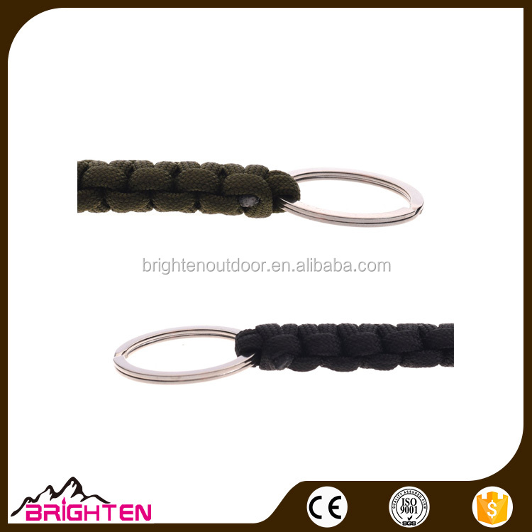 2 Pcs black Paracord survival Keychains Key Chain with Clasp