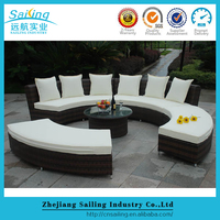 Uniquely Wicker Outdoor Oval Symmetrical Rattan Sofa Set