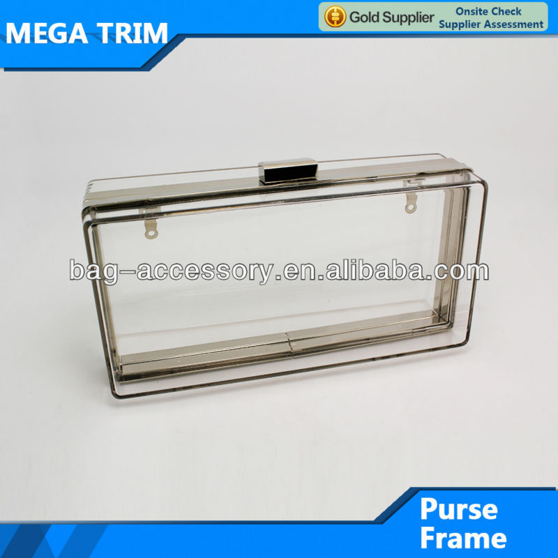 metal clutch purse frame with acrylic MEGA TRIM characteristic purse