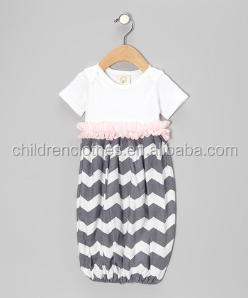 Wholesale Children Baby Girls Casual Chevron Sleeping Wear Summer Kids Dresses