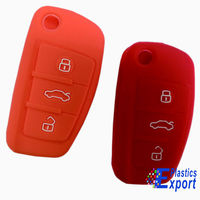 Embossed logo 3 buttons silicone car key case shell with various color
