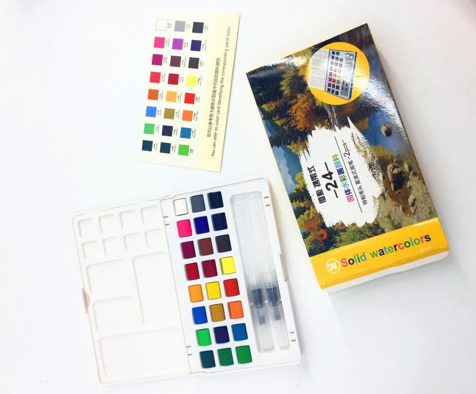 24colors professional watercolor paints cakes set artist paint