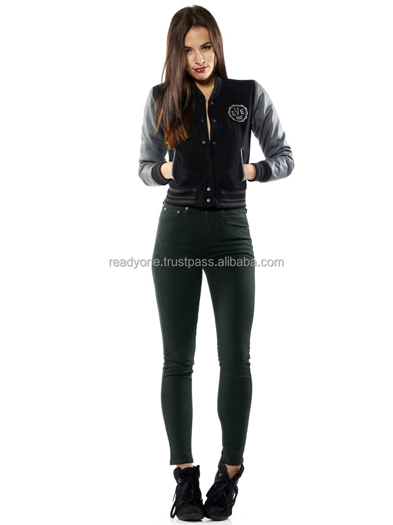 beautiful fashion women pink varsity jackets with double button fastening china supplier OEM