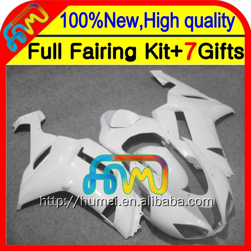 HOT Fairing +Body For KAWASAKI NINJA ZX6R Glossy white 07-08 ZX-6R ZX636 10CL20 ZX 6R ZX-636 ALL White 07 08 2007 2008 Bodywork