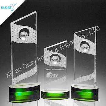 Wholesale green sandblasting crystal award trophy