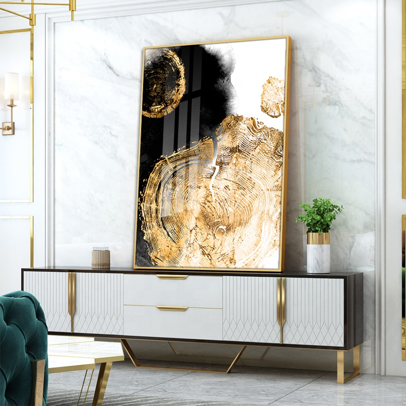 Black Gold Art Crystal Porcelain Abstract Decorative Wall Painting For LIVING ROOM WALL Home Decoration