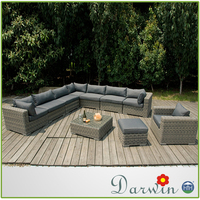Top supplier european style waterproof rattan sofa set outdoor sectional sofa