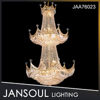 Zhongshan Jansoul Empire 3 Tiers Crown Shape Crystal Chandelier for Hotel/ Lobby