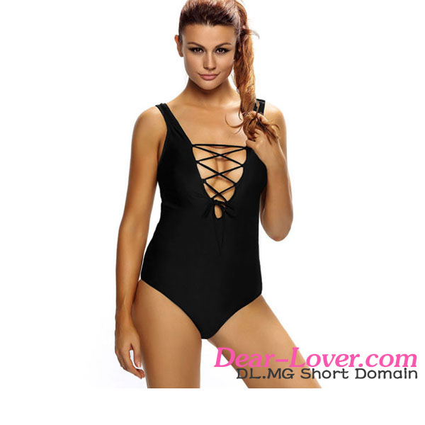 Open Sexy Photo Mature Ladies Solid Black Lace Up V Neck One Piece Bathing Suit